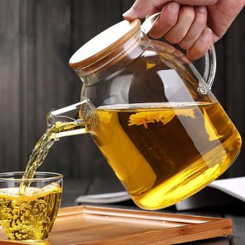 ONETOW High Capacity Glass Kettle Handcraft Water Jug Chinese Flower Teapot Filter Bamboo Lid Heat Resistant Stainless Steel Strainer