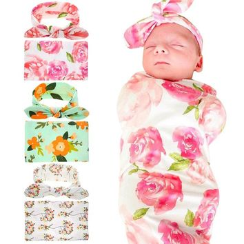 Naturalwell Newborn Hospital Swaddled Set Swaddle & Headwrap Floral Swaddle Set Blanket Sleeping Bag Photo Prop 1set HB125
