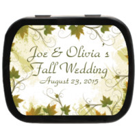 Leaves Border Personalized Wedding Mint Tins for garden inspired, fall weddings, engagements and more! Candy Favors