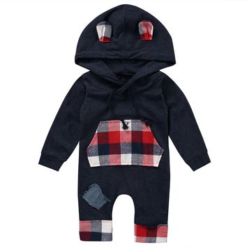 Newborn Baby Clothes Infant Bebes Boys Girls Romper Hooded Jumpsuit One Pieces Outfits Cotton Costume 2017