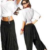 Black Wrap Style Low Rise Harem Pants - Small