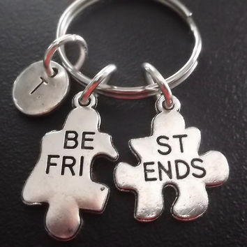 Best friends puzzle keyring, keychain, bag charm, purse charm, monogram personalized item No.507