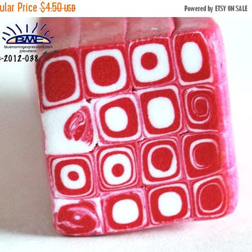 On Sale Raw Polymer Clay Red White Klimt Geometric Bead Making Cane
