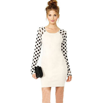 Girls Women Casual Clothing Work Wear Black Wave Point Polka Dot Splicing Slim Elastic Elegant White Dress INY66