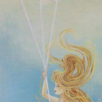 Mermaid with Koi- Painting on Canvas- Mixed Media Artwork- Beach and Costal Decor- 16X48 inches