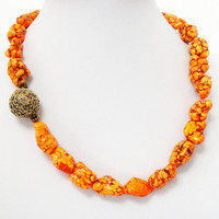 Orange Turquoise Howlite Freeform Natural Nugget Gemstone Beaded Necklace, One Layer Orange w/Brass  Focal Necklace