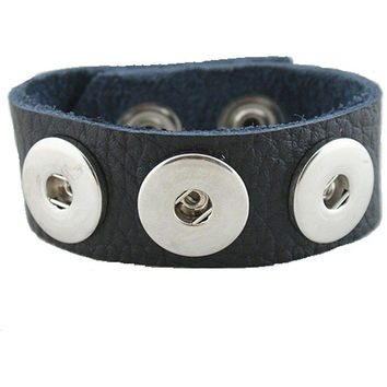 Leather Snap Chunk Charm Bracelet Black Textured Grain Soft Medium Size 24cm