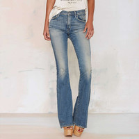 Blue Washed Low Waist  Flared Denim Trousers