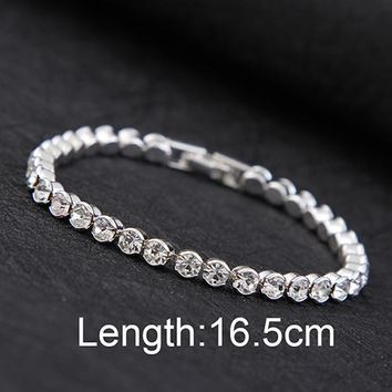 Design High quality Silver Plated charm Shiny Austria Crystal Bracelets & Bangles Women Accessories