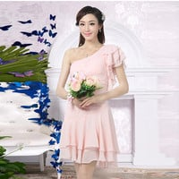 One-Shoulder Pink High-Waist Silk Chiffon Short Dress
