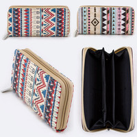 Zipper Around Long Wallet Clutch Card Coin Holder Aztec Dreamcatcher Tribal