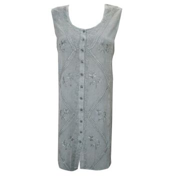 Mogul Women's Shift Dress Sleeveless Grey Stonewashed Rayon Embroidered Dresses - Walmart.com
