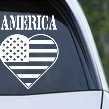 America Heart Patriotic (HRO167) Die Cut Vinyl Decal Sticker