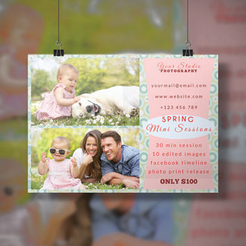 Spring Mini Session Marketing Board - Photoshop template - Instant Download