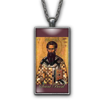 Saint Basil Painting Religious Pendant Necklace Jewelry