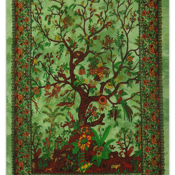 Twin Green tree of life tapestry Mandala Tapestry-Indian Wall Hanging Bohemian Hippie Bedspread Throw home Decor