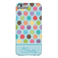 Custom Text Cute and Colorful Lollipop Barely There iPhone 6 Case