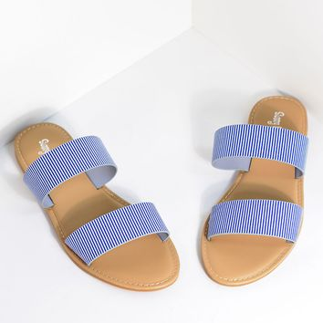 Retro Style Blue & White Stripe Leatherette Sandal