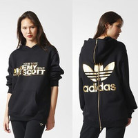 """Adidas"" Women Clover Letter Print Long Sleeve Zip Sportswear Hooded Sweater"