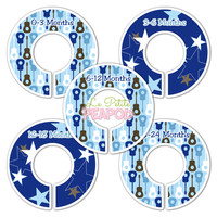 5 Custom Made Baby Closet Dividers - Blue and Brown Stars N Guitars Rockstar Design - Boy Nursery Baby Shower gift