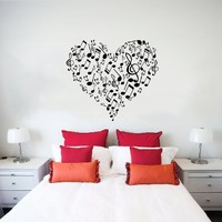 Wall Decals Heart Musical Notes Music Studio Treble Clef Wall Vinyl Decal Stickers Bedroom Murals