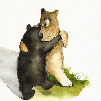 watercolor painting- Waltz - Dancing Bears- animal painting