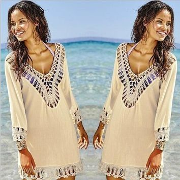 Summer Beach Bikini Crochet Cover Up , Sexy Mmoda Praia Swimsuit Cover Up , Beachwear Women Beach Cover up