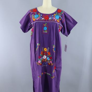 Vintage Purple Mexican Oaxacan Embroidered Caftan Dress