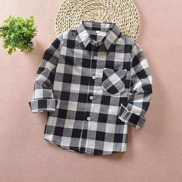 Boys Plaid Shirts Long Sleeve Kids Shirts Boys Cotton Spring & Fall Children Casual Outwear