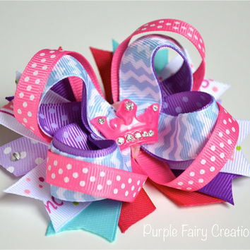Princess Tiara Stacked Boutique Bow - Baby Girl, Newborn, Infant, Toddler, Child, Teen, No Slip Grip Clippie - Hair Clip or Headband