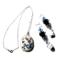 Hand Painted Japanese Sparrow Porcelain Necklace & Earrings Sterling Silver Set