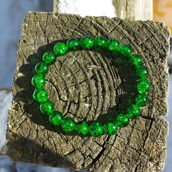 Green Stretch Bracelet Crackle Glass Beads Handmade St Patty's Day