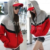 Korea Women's Long Sleeves Hoodie Zipper Jacket Coat Free Shipping!  - US$10.99