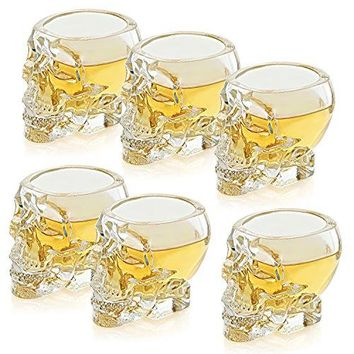 Set of 6 Skull Shaped Clear Glass Novelty 2.8 oz Shot Glasses / Decorative Halloween Drinkware - MyGift