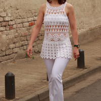 Crocheted tunic, handmade women's crochet blouse,white crocheted blouse