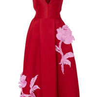 V-Neck Embroidered Cocktail Dress | Moda Operandi