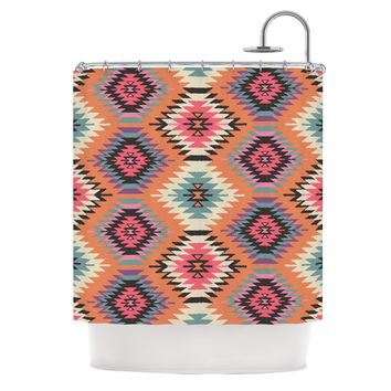 "Amanda Lane ""Southwestern Dreams"" Orange Pink Shower Curtain"