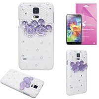 EpicGadget(TM) Luxury Handmade 3D Bling Pearl Cute Purple Cartoon Mouse Case Cover For Samsung Galaxy S5 i9600 + Galaxy S5 Screen Protector (US Seller!!) (Purple S5 Case)