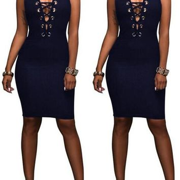 Sapphire Blue Plain Hollow-out Zipper Round Neck Sleeveless Bodycon Denim Mini Dress