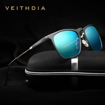 VEITHDIA  Polarized sunglasses men Square Retro Aluminum Accessories Driving Sun Glasses For Men lunettes de soleil homme 6368