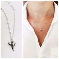 Mini Shark Tooth Necklace in 24k Gold or Sterling Silver