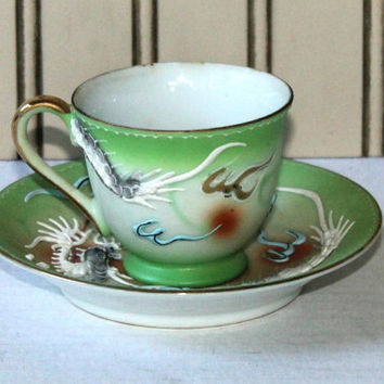 Oriental Moriage Dragonware Demitasse Cup and Saucer Made in Japan , Asian Motif Cup and Saucer with Raised Dragon Design