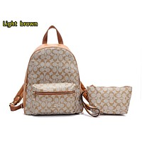 """COACH "" Fashion Hot Women's Casual Travel Print Backpack Light brown"