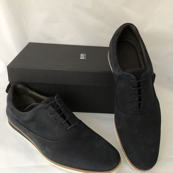 NIB $315 Boss Hugo Boss  Electric Oxford Men's Suede Blue Shoes 9 US Portugal