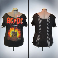 AC/DC Shredded band T shirt/Top Size xl OOAK