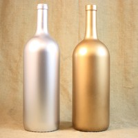 Anniversary Guest Book Bottle, Gold & Silver Wedding Guest Book, Painted Wine Bottle, Upcycled Wine Bottle,, Home Decor