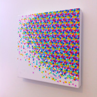 Canvas Art Print - The Original Funfetti Explosion - 12 x 12, original art, art on canvas, kids room, dorm room, mother's day gift