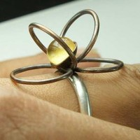Blooming Ring Hammered Bronze Circles on Sterling by ExCognito
