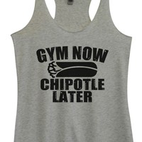 Womens Tri-Blend Tank Top - Gym Now Chipotle Later