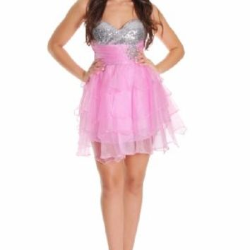 Beautifly Women's Sweetheart Barbie Sequin Top Strapless Cocktail Dress
